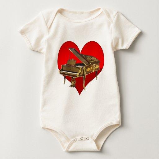 Corazón antiguo del rojo del piano de piano de body para bebé