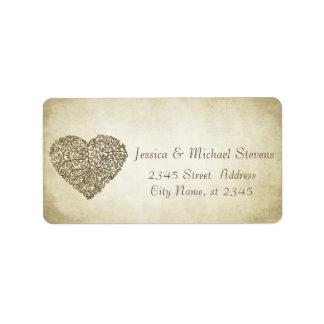 Corazón apacible del extracto del boda del vintage etiquetas de dirección