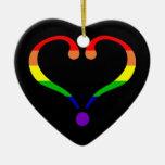 Corazón Arco Iris del orgullo día de San Valentín Adornos De Navidad