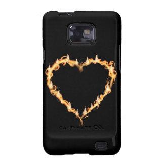 Corazón ardiente de los gráficos oscuros del amor samsung galaxy s2 carcasa