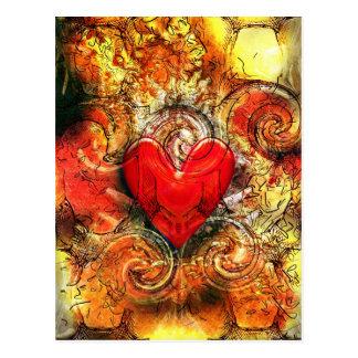 Corazón ardiente tarjeta postal