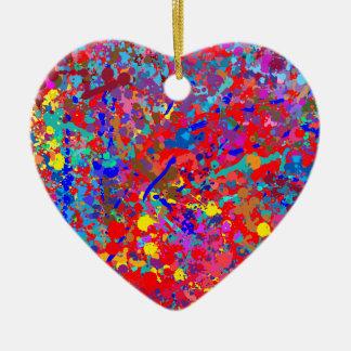 Corazón, arte del goteo adorno navideño de cerámica en forma de corazón