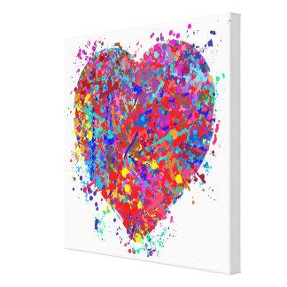Corazón, arte del goteo impresion de lienzo