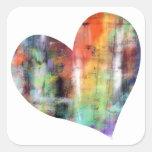 Corazón artístico calcomanías cuadradas personalizadas