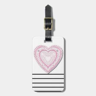 Corazón atado rosa etiqueta de equipaje