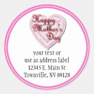 Corazón atado rosa para el día de madre etiqueta redonda