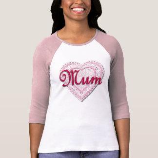 Corazón atado rosa para la momia camisas