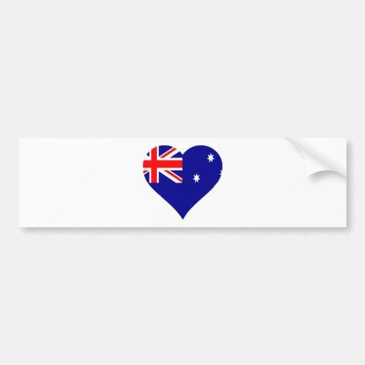 Corazón australiano de la bandera pegatina de parachoque