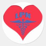 Corazón autorizado del caduceo de la enfermera LPN Pegatina Redonda