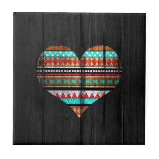 Corazón azteca azulejo cuadrado pequeño