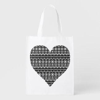 Corazón azteca blanco y negro bolsas reutilizables