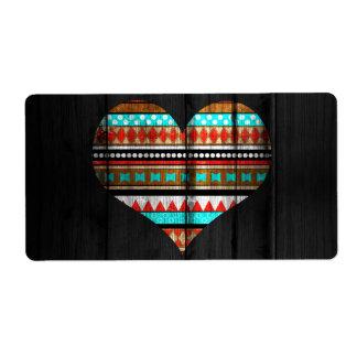 Corazón azteca etiqueta de envío
