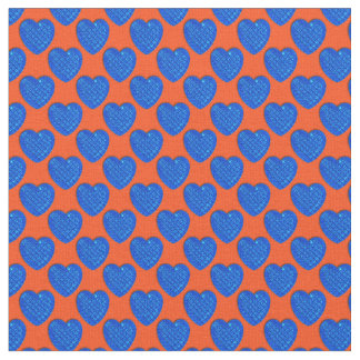 Corazón-Azul brillante y Naranja-Tela Telas