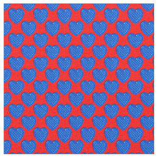 Corazón-Azul brillante y Rojo-Tela Telas