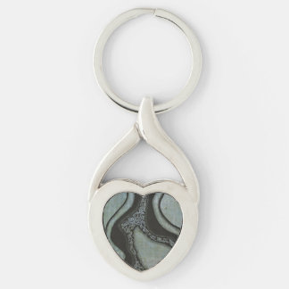 Corazón azul claro del diseño de la tinta de la llavero plateado en forma de corazón