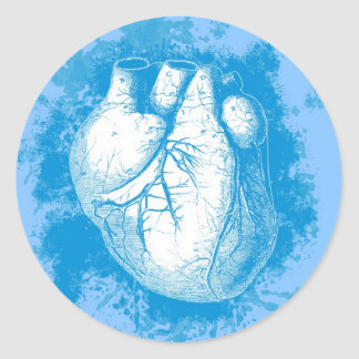 Corazón azul con los salpicones pegatina redonda