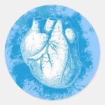 Corazón azul con los salpicones pegatinas redondas
