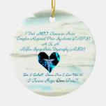 Corazón azul de CRPS/de RSD de la estrella O del v Ornamentos De Navidad