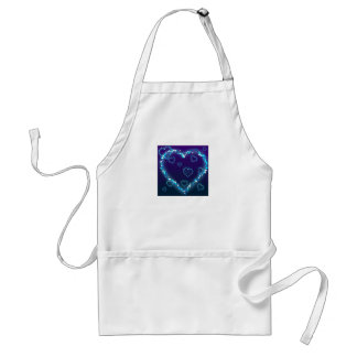 Corazón azul de la chispa delantal