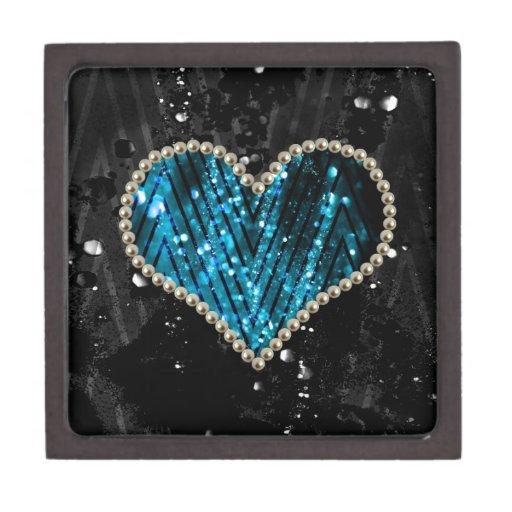 Corazón azul de la perla caja de joyas de calidad