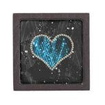 Corazón azul de la perla cajas de recuerdo de calidad