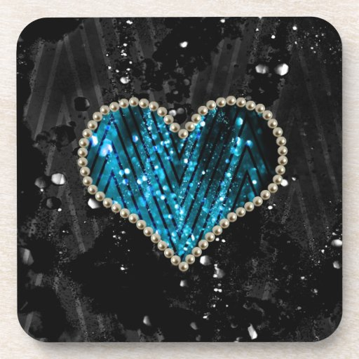 Corazón azul de la perla posavasos