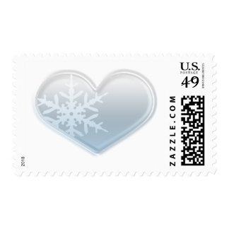 corazón azul del copo de nieve estampilla