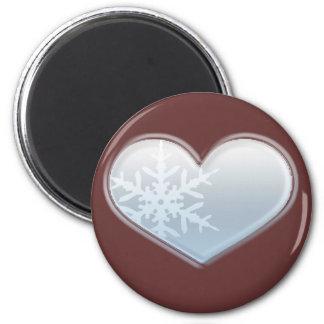 corazón azul del copo de nieve imán redondo 5 cm