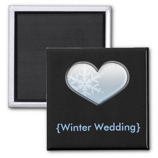corazón azul del copo de nieve imán cuadrado