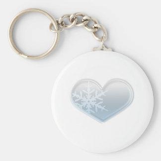 corazón azul del copo de nieve llavero personalizado