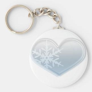 corazón azul del copo de nieve llaveros personalizados
