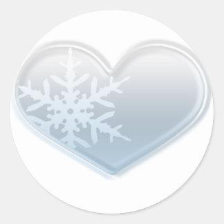 corazón azul del copo de nieve pegatina redonda