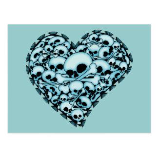 Corazón azul del cráneo postales