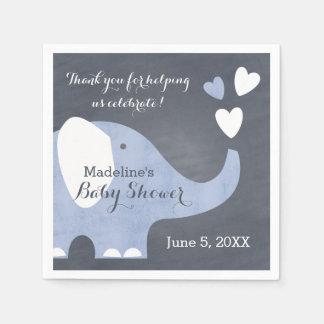 Corazón azul del elefante servilleta de papel