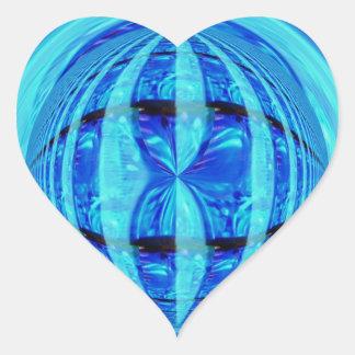 Corazón azul del pegatina del orbe