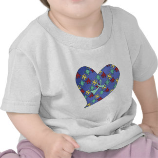 Corazón azul del rompecabezas de la conciencia del camisetas