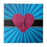 Corazón azul del rosa del resplandor solar del mon tejas  ceramicas