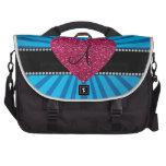Corazón azul del rosa del resplandor solar del mon bolsa de ordenador