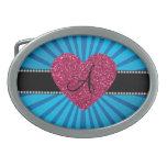 Corazón azul del rosa del resplandor solar del mon hebillas cinturon