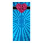 Corazón azul del rosa del resplandor solar del mon tarjeta publicitaria personalizada