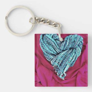 Corazón azul del trullo fresco en la tela de las llavero cuadrado acrílico a doble cara