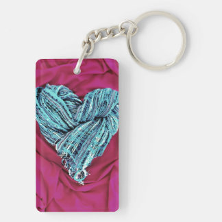 Corazón azul del trullo fresco en la tela de las llavero rectangular acrílico a doble cara