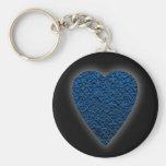 Corazón azul. Diseño modelado del corazón Llaveros