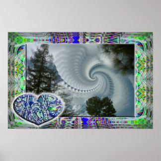 Corazón azul en un poster nublado del día