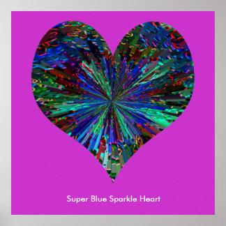 Corazón azul estupendo de la chispa póster