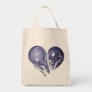 Corazón azul floral bolsa de mano