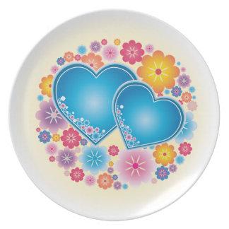 Corazón azul floral plato de cena