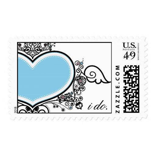 Corazón azul hago los sellos