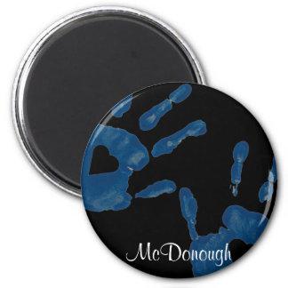 Corazón azul Handprint Iman Para Frigorífico