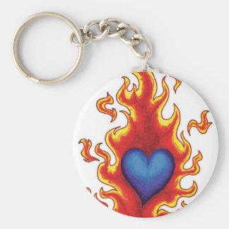 Corazón azul llameante #2 llavero redondo tipo pin